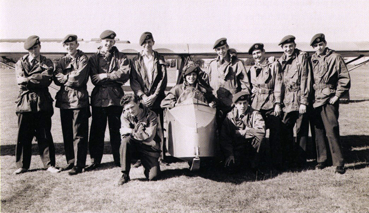 The artist with wings, 4th from left, RAF Hawkinge, Kent