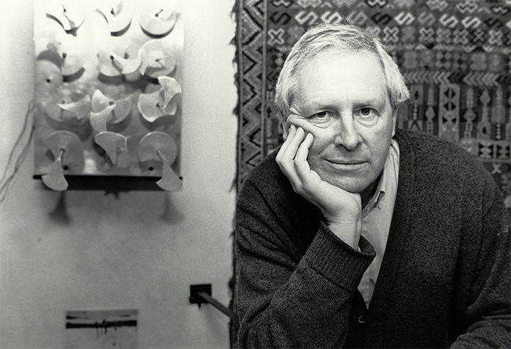 Portrait of the artist, Programmed Shape Development, 1968, can be seen in the background.